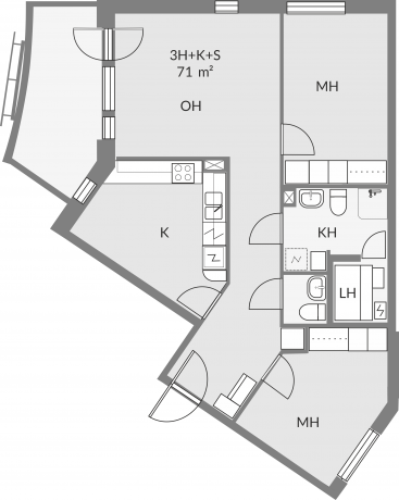 Floor plan of apartment b19